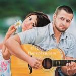 Красив портрет влюбени и китара