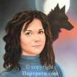 Портрет на момиче и вълк