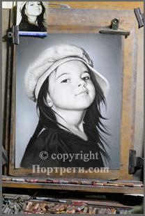 Реалистичен портрет графика с пастел